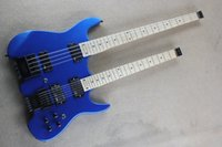 Cheap free shipping maple neck Double neck headless metal blue guitar 6 String guitar & 4 String bass