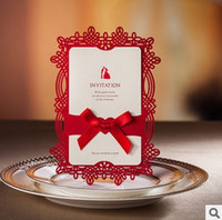 Wholesale Elegant Red Hot Hollow Flowers Wedding Invitations Cards