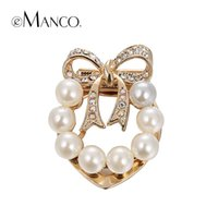 Wholesale Rhinestone bow pearl brooches eManco New promotions High Quality Fashion bijoux Creative Christmas gift BR02775