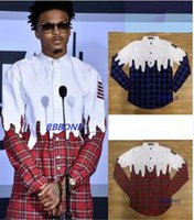 Wholesale Europe America fashion New men plaid shirt street wear star with white plaid shirt tide brand
