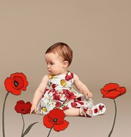 Wholesale Baby Girls Dress Summer Designer Princess Dress Girl Clothes Dobby Kids Dresses for Girls Costumes Poppy Floral Print Kids Clothes