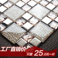Wholesale Jasmine crystal glass mosaic tile backdrop wall stickers puzzle plated bathroom entrance