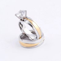 Wholesale Lovers couple rings silver gold cross charms L stainless steel CZ stone diamond wedding rings jewelry SR0493