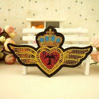 Wholesale 20 pieces a Sequin beaded badge fashion clothes all match badge remendo P006 iron on fabric patch divisa