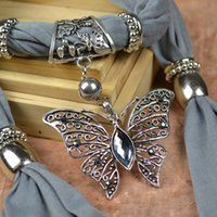 Wholesale hollow out butterfly pendant scarf grey rhinestones charm jewelry scarves