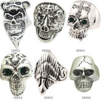 antique engagement ring set - Mix style Fashion Antique Silver Ring Skeleton Jewelry Punk Skull Rhinestone European Biker Vintage Stainless Steel Rings For Men