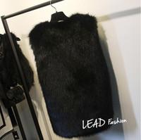 Wholesale Plus Size XL XL White Black Women s Faux Fur Gilet Coat Rabbit Mink Fox Fur Vest Medium long V Neck Fur Waistcoats Jacket