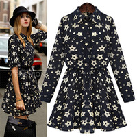 Wholesale celeb style Lapel long sleeve pleated printed dress women casual dress plus size S to XL