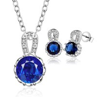 Cheap Fashion Jewelry Set 925 Silver Austrian crystal necklace & stud earrings wedding gift for woman Top quality factory price