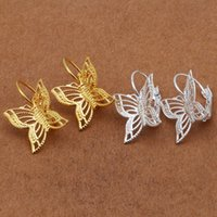 Wholesale 20pcs Metal Copper Filigree Butterfly Earrings Trendy Fashion Earrings for Women E8503