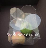 Wholesale 7 cm Four leaf Clover PVC Cube Box Flower clear plastic Candy gift candle packaging box product display Box