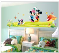 Wholesale Wall Stickers Wall Decor Painting Decors DIY Mickey Minnie Mouse Kids Nursery Room Wall Sticker Removable Decor Cartoon Wallpaper
