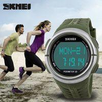 Cheap SKMEI Men Women Sports Watches Heart Rate Monitor Pedometer 50M Waterproof Outdoor Digital Calorie Counter relogio masculino