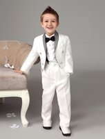 Wholesale Four Pieces Luxurious white Ring Bearer Suits Swallow tail with Black Bow Tie cool kids formal dress boys suits fashion kids suits
