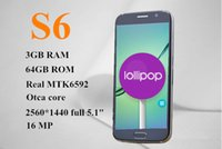 Wholesale Gold in stock s6 phone original MTK6592 Octa Core s6 mobile phone GB RAM FHD android smartphone cell phone