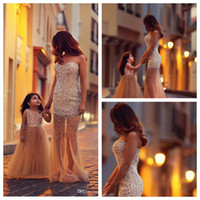 Wholesale Best Selling Mother And Daughter Matching Dresses Mermaid Tulle Pearls Prom Dress Elegant Long Formal Evening Dress Flower Girls Dresses