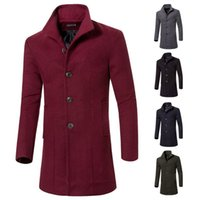 Wholesale hot sale long wool coat mens double breasted trench coats men simple luxury men overcoat color M XL
