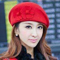 Wholesale Any color for Elegant Felt Lady flowerl beret cap hat Black Red Camel Wine Red Stewardess Korea Style
