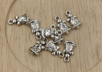 bell charm - Hot Antiqued Silver Double Sided Christmas bells Charm Pendant x9mm ab693