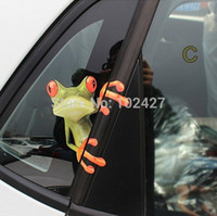 Wholesale 3D Three dimensional Car Stickers Funny Frog Realistic D Stereo Car Stickers gecko car stickers rearview mirror garland