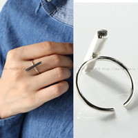 acrylic square rod - South Korean version S925 sterling silver square strip simple geometric Rod Ring ring opening Jagl