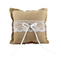 Wholesale 2015 New Burlap Hessian Lace Ring Pillow for Bridal Wedding Decoration Product Supplies Fashion Ring Pillow cm