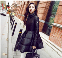Hooded artistic coating - 2016 winter new fashion Edgy Artistic women s down jacket slim fit elegant coat Ladies warm winter outer wear top quality
