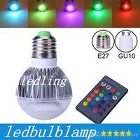 Precio de Focos de colores-CREE LED del bulbo 2015 nueva llegada LED RGB E27 GU10 9W CA 85-265V RGB LED de la lámpara de color con control remoto CE múltiple