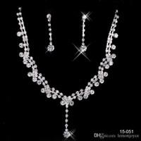 unique jewelry - 2015 Prom Jewelry Set Fashin Unique Wedding Bridal Bridesmaids Crystal Rhinestone Tear Drop Shaped Necklace Earrings set Bridal Bridesmaid