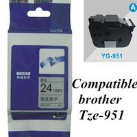 Wholesale 24mm black on silver TZe brother Label Tape Compatible for Brother P Touch brother printer ribbons