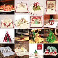 christmas cards - 16styles Christmas Greeting Card D Handmade Xmas Gift Stationery Card Vintage Retro Pierced Post Greeting Cards
