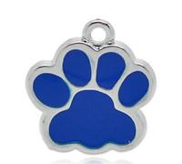 bear paw jewelry - Silver Tone Dark Blue Enamel Bear Paw Charm Pendants x16mm For Jewelry Making