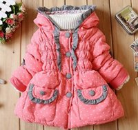 Wholesale 2015 Autumn and winter New Children s clothing kids coat Girls Lace small love Fashion baby Keep warm Cotton padded clothes