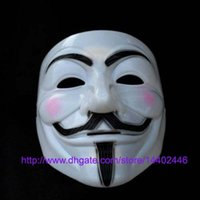 Wholesale 100pcs guy fawkes V vendetta team pink blood scar masquerade masks Halloween carnival Vendetta mask V masks for the free ship