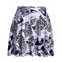 american newspapers - Yoga3 European and American magazines black and white newspaper paragraph bust skirt fashion dance skirt beach skirt