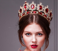 Wholesale Western Style Red Dimand Crystals Princess Queen Pearl Jewelry Wedding Party Hair Accessories Headwear Bridal Tiaras And Crowns