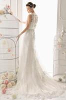 beauty castle - Lace Sheath Wedding Dresses Sheer Neck Keyhole Back Sweep Train With Beading Sash Ivory Bridal Gown Vestidos De Noiva beauty