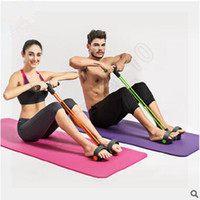 Wholesale 100pcs CCA3572 High Quality Colors Foot Hand Portable Pedal Exerciser Body Building Resistance Band TPR Tube Pull Exerciser With Pedal