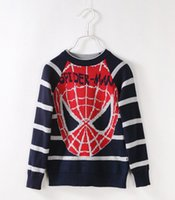 blue deep clothing - Autumn Spider Man Pattern Stripe Big Children Pullover Long Sleeve Thicken Boys Girls Tops Baby Clothes Warm Sweater Apricot Deep Blue L1877