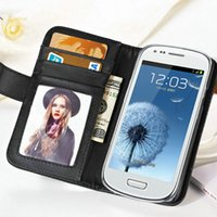 Cheap 10 pcs lot Flip PU Leather Case For Samsung Galaxy S3 Mini I8190 Wallet Style With Stand Photo Frame Wholesale