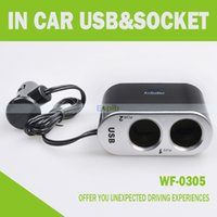 Wholesale 2 Way USB Charger Car Cigarette Lighter Socket V V Splitter Plug Charger Adapter With USB Port With Switch