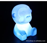 achat en gros de lumière de nuit gradient-Livraison en gros-Free Hot vente LED Colorful Gradient Night Light, lampe Singe Zodiac Colorful Night Light décorations de Noël Jouets