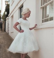 best selling tea - Lace Short Wedding Dresses Vintage A Line Short Sleeve Tea Length Formal Gowns Appliques Tulle Custom Made Scalloped Best Selling Top