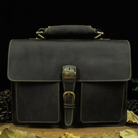 Wholesale 100 real crazy horse leather men brown Courier document computer single shoulder bag for