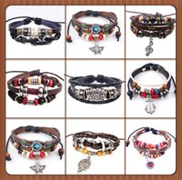 acrylic enamel black - 30pcs new Designs Leather Bracelet Antique Cross Anchor Love Peach Heart Owl Bird Believe Pearl Knitting Bronze Charm bracelets
