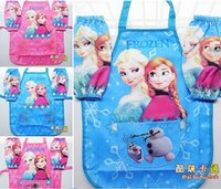 Wholesale 2015 Frozen ELSA ANNA Printe Kids Childrens Cartoon Cooking Art Painting Smock Apron Set Sleeveless Aprons Over sleeves