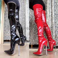 Wholesale 2015 New arrival cm quot Extreme high heels unisex pointed toe BDSM patent leather crotch sex fetish BDSM sky metal heel boots dropshipping