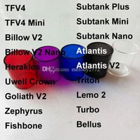 Wholesale Pyrex Glass Tube Replacement for Smok TFV4 Mini Tank Zephyrus Billow v2 nano Goliath Sense Herakles Atlantis Bellus Lemo pc DHL Free
