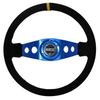 Wholesale 14 quot MM Blue Aluminum black leather Car styling Steering Wheel yarn mill leather Steering Wheel Steering Wheel Deep Corn Dish