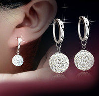 Cheap fashion jewelry earrings for women Earring 925 sterling silver new Princess diamond ball WOMAN Ear rings 10pcs lot Free Shipping